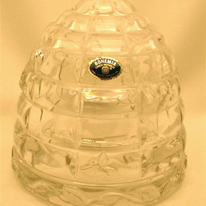 Bohemia Glass, Lead Crystal Beehive Honeypot