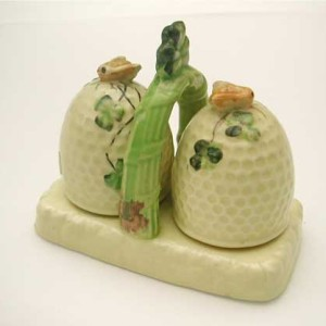 Beehive Salt & Pepper Set with Stand - circa 1930s