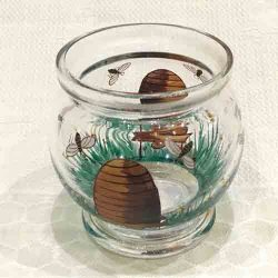 Glass hand painted 'Bees & Beehives' Vase