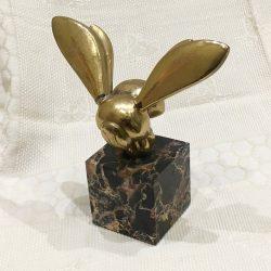 """Vintage metal sculpture of """"Bee"""" on marble base"""