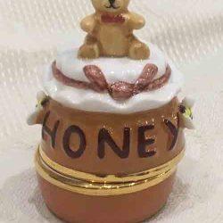 Porcelain China Teddybear Trinket Box